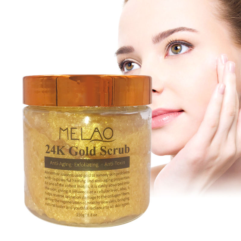 Hot Selling Private Label Pure Natural Organic Ingredient Anti Wrinkle Exfoliating Cleansing Shrink Pores 24K Gold Face Scrub