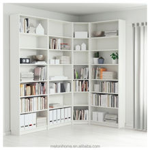 European design bookcase wooden grain with corner base for library