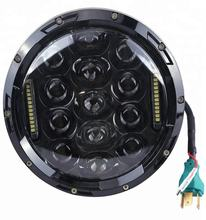 "75w 7"" headlight motorcycle black high low beam 7inch Round daymaker led"