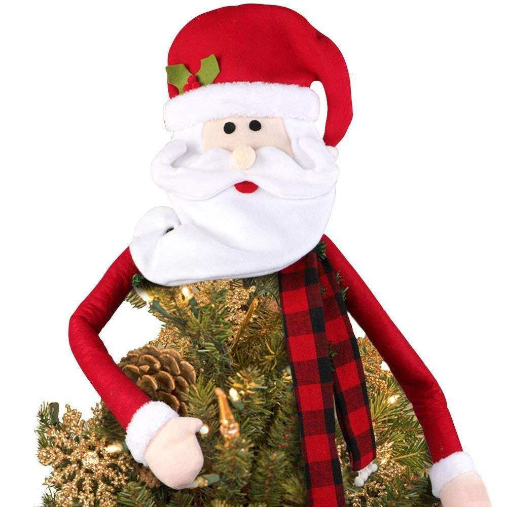 Wholesale Mexican Imports Vintage Christmas Gifts Large Christmas Tree Topper Hat Santa Snowman Santa Claus 13 Inch Xmas Plush