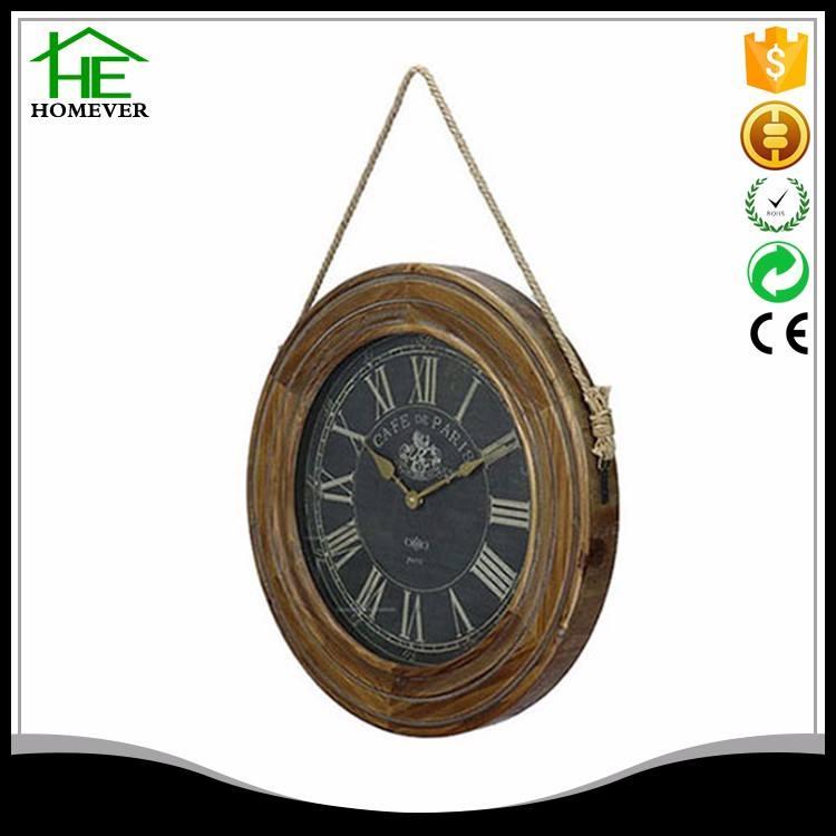 Antiguo degradado ronda cuerda marco de madera reloj de pared