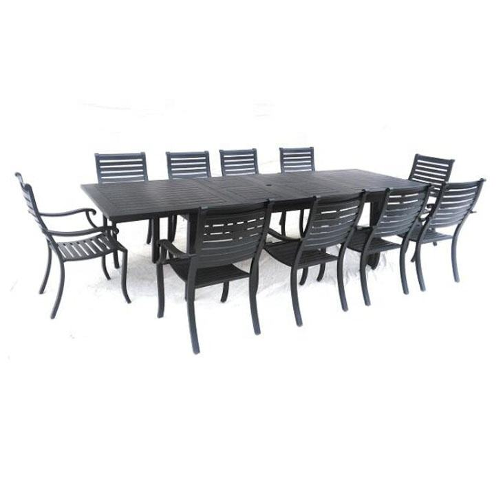 All aluminum dining set for outside extend table and armchair chair patio set
