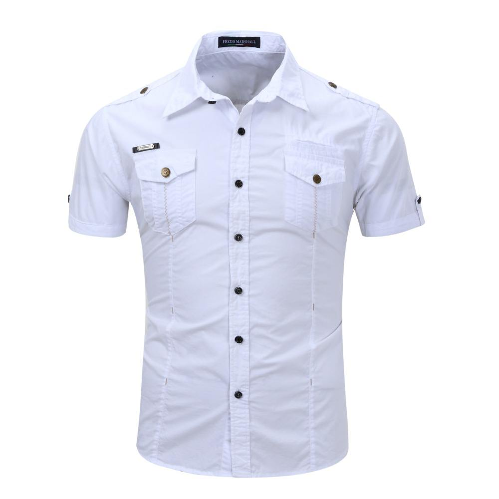 Classical Summer Fashion men Brand Cotton Short Sleeve Military Uniform Shirt With Epaulets Pocket