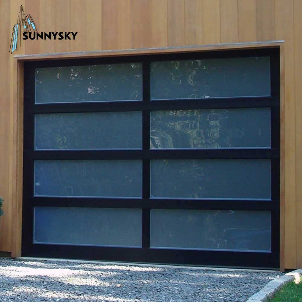 Customized glass panel aluminum frame insulated clear glass garage door