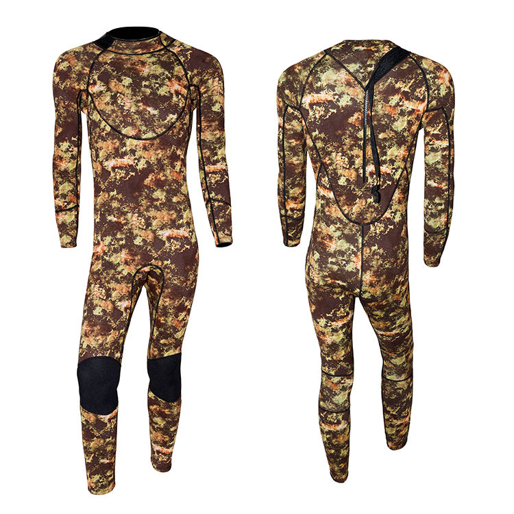3mm Men's Full Body Neoprene Spearfishing Wetsuit with Backzip camo design surf wetsuit