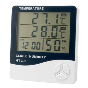 HTC-2 Indoor Room LCD Electronic Temperature Humidity Meter Digital Thermometer Hygrometer with Weather Station Alarm
