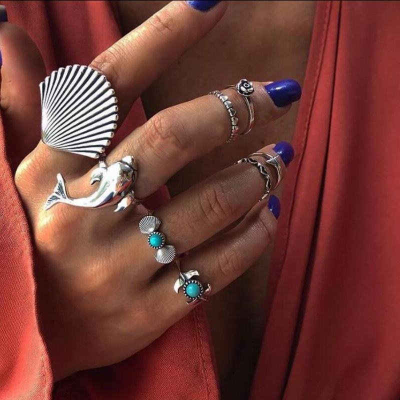 Fashion vintage ring boho variety ladies ring multi-element combination ring set national wind girl gift