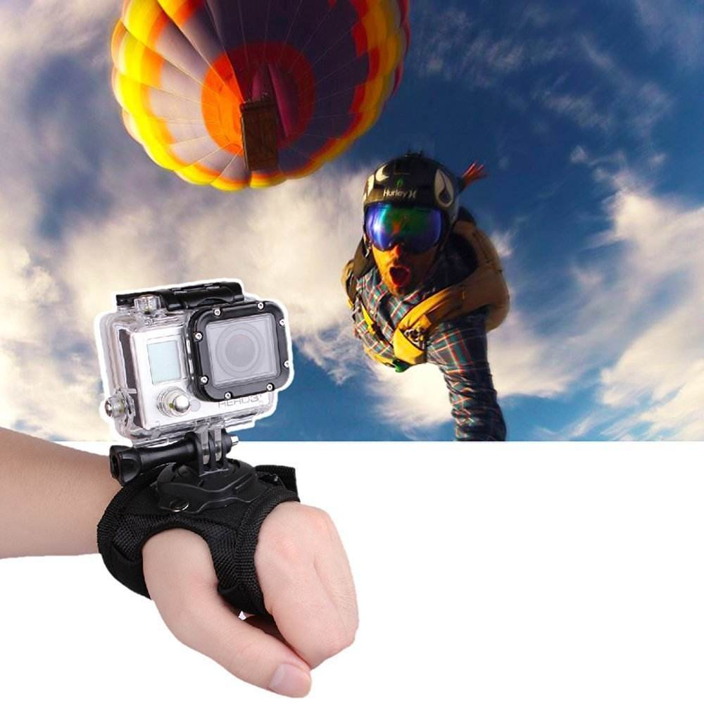 Kaliou 360 Degree Rotation Wrist Belt Holder Hand Palm Strap Mount Accessories for Go Pro Hero4 / 3+ / 3 / 2