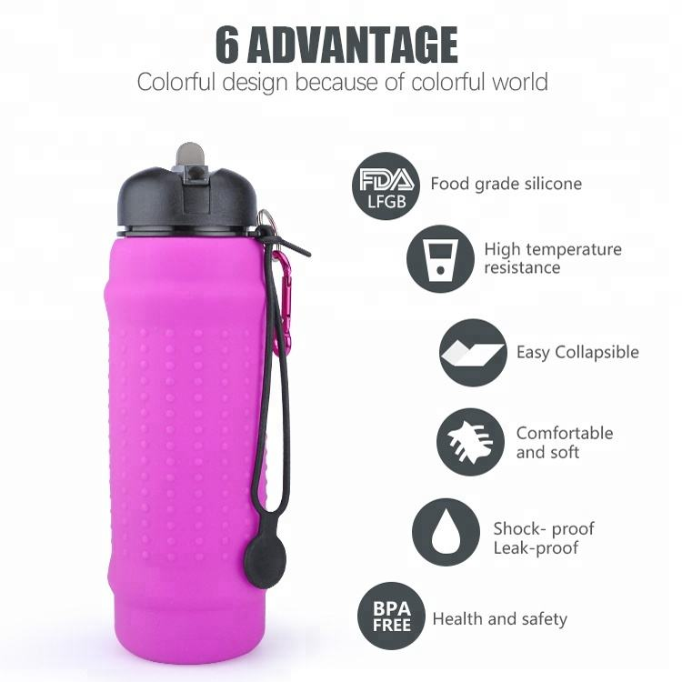 Sports Water Bottle Bpa Free Water Bottle Silicone Collapsible Water Bottle Empty Collapsible Silicone Bpa Free Sports Water Bottle Manufacturer