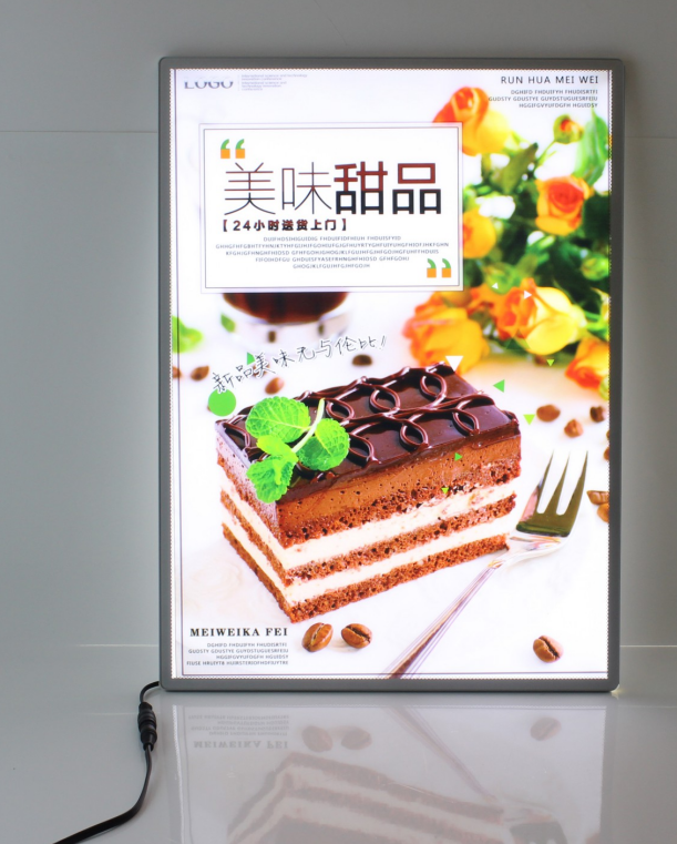 Wall mounted picture insertion light box single or double side custom size high brightness light box free standing