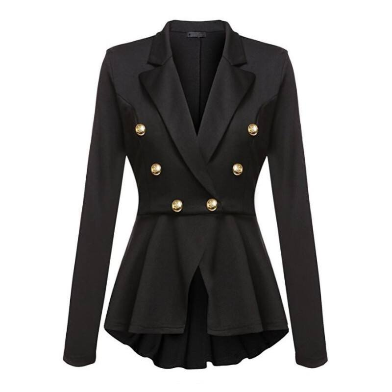 Office Blazers Suits Women Double Button Crop Frill Ruffle Hem High Low Work Ladies Blazer Outer Coat Y10546