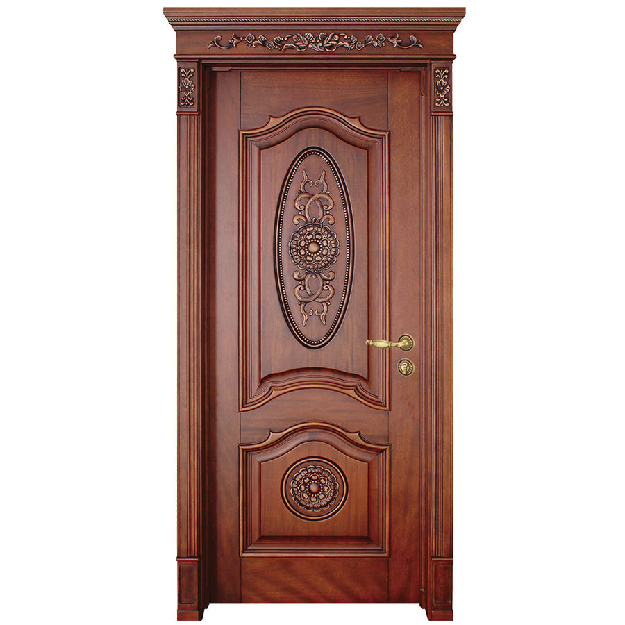 Prettywood Luxury Carving Designs Thai Oak Interior Single Solid Wood Door
