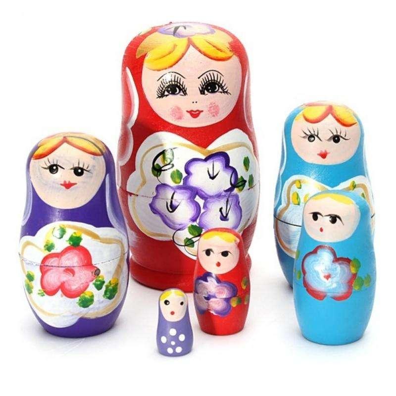 Cute Lovely Animal Mini Yellow Chicken Handmade Wooden Russian Nesting Dolls Matryoshka Dolls Set 5 Pieces For Kids Toy Birthday Christmas Gift Kids Room Decoration