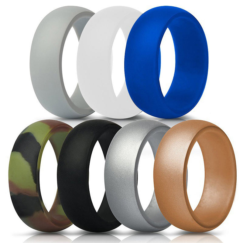 2019 New Fashion Engraved Designer Mens Custom Rubber Rings Men High Quality Silicone Wedding Bands For Gift