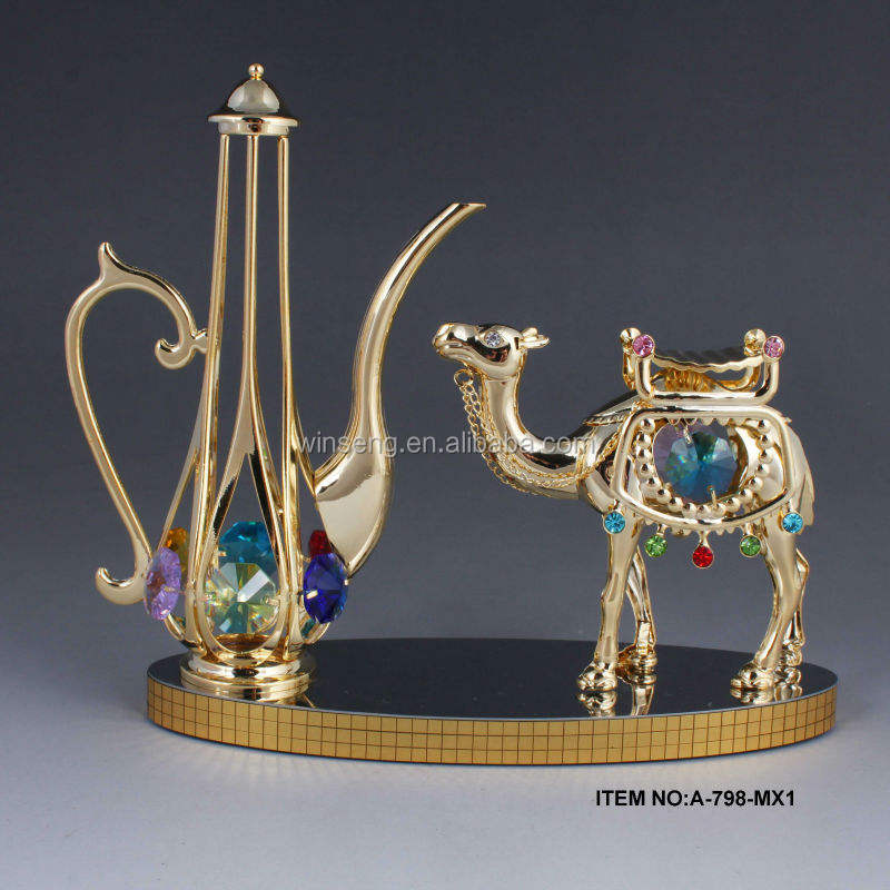 High quality 24K gold plated Mid-east Camel and Kettle Decoration
