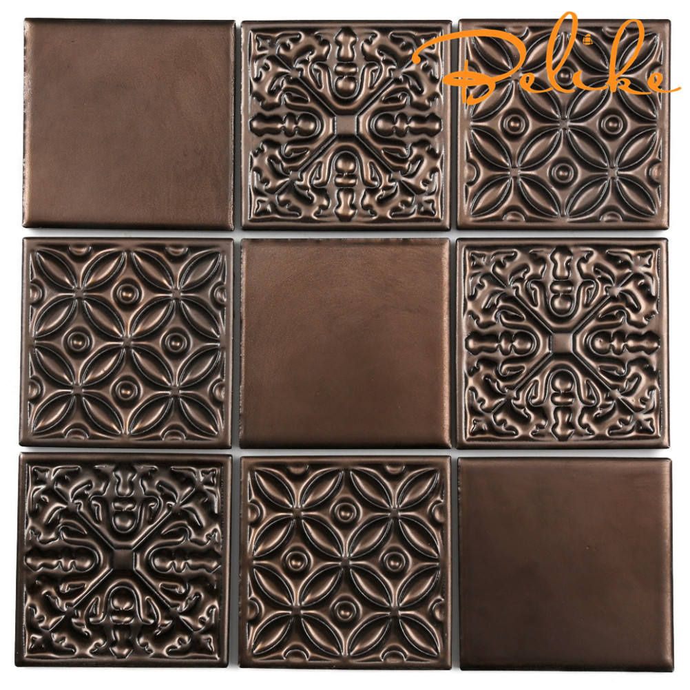 Porcelain Metallic Glaze Antique Copper Color Ceramic Wall Tile Coffee Tone Renaissance Art Mid East Home Background Decor Condo