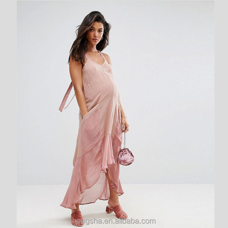Wide-cut straps V-neck Maternity Casual Parachute Maxi Dress HSH 6134
