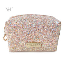 Glitter bling sequin woman makeup bag oem brand printed square cosmetic pouch bag