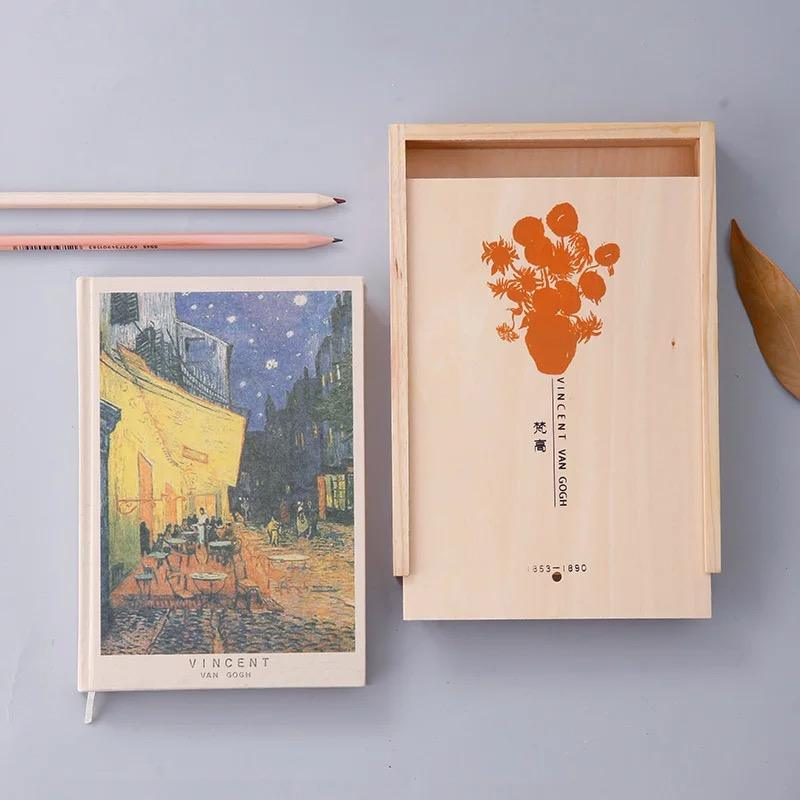 Oem custom Van gogh illustrations elastic closure notebook covers with wooden box