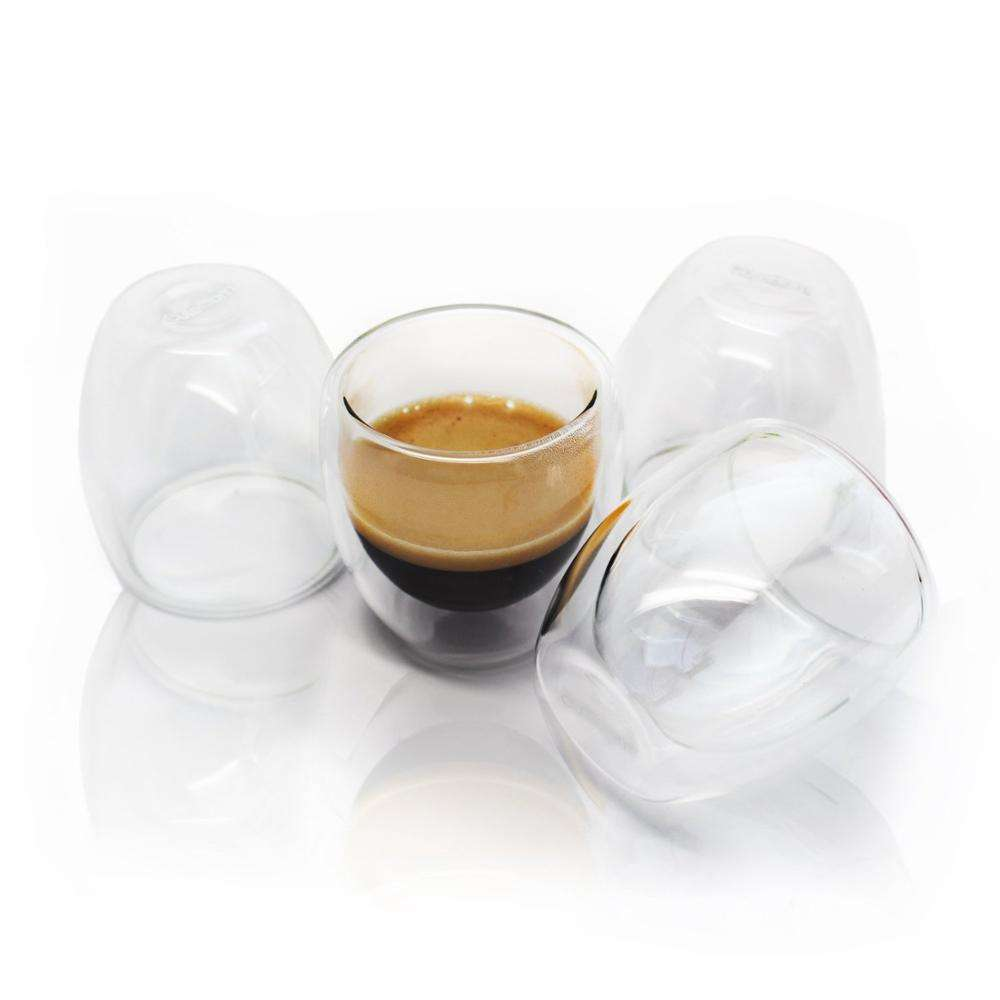 borosilicate glass 80ml handleless double wall espresso glass coffee cup