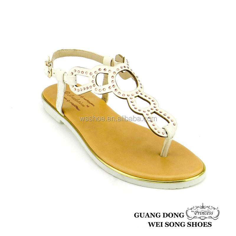 TPR sole factory direct sale high quality newest design stylish thong flat sandals for ladies