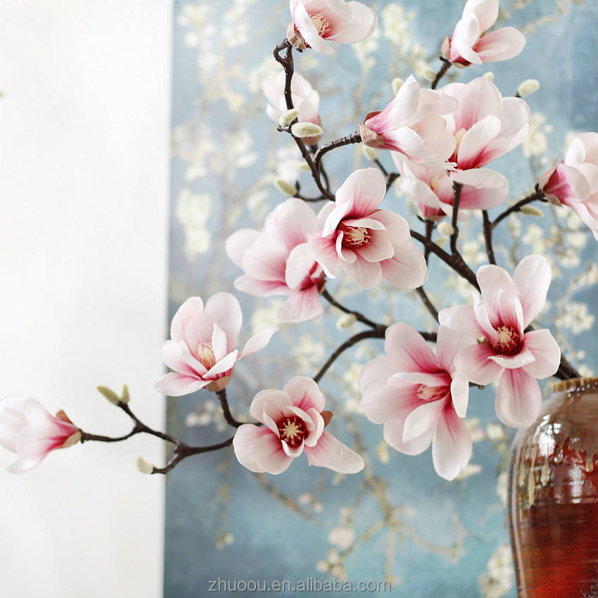 Wholesale High Quality Real Touch Magnolia Wreath Flowers Artificial Magnolia Branches Home Wedding Office Garden Decoration