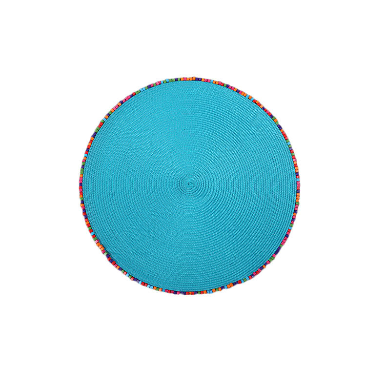 Tabletex new design round PP placemat with bead Decorative table mats