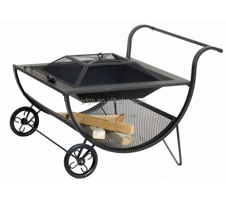 Outdoor Wood burning steel Patio fire pits with wheels