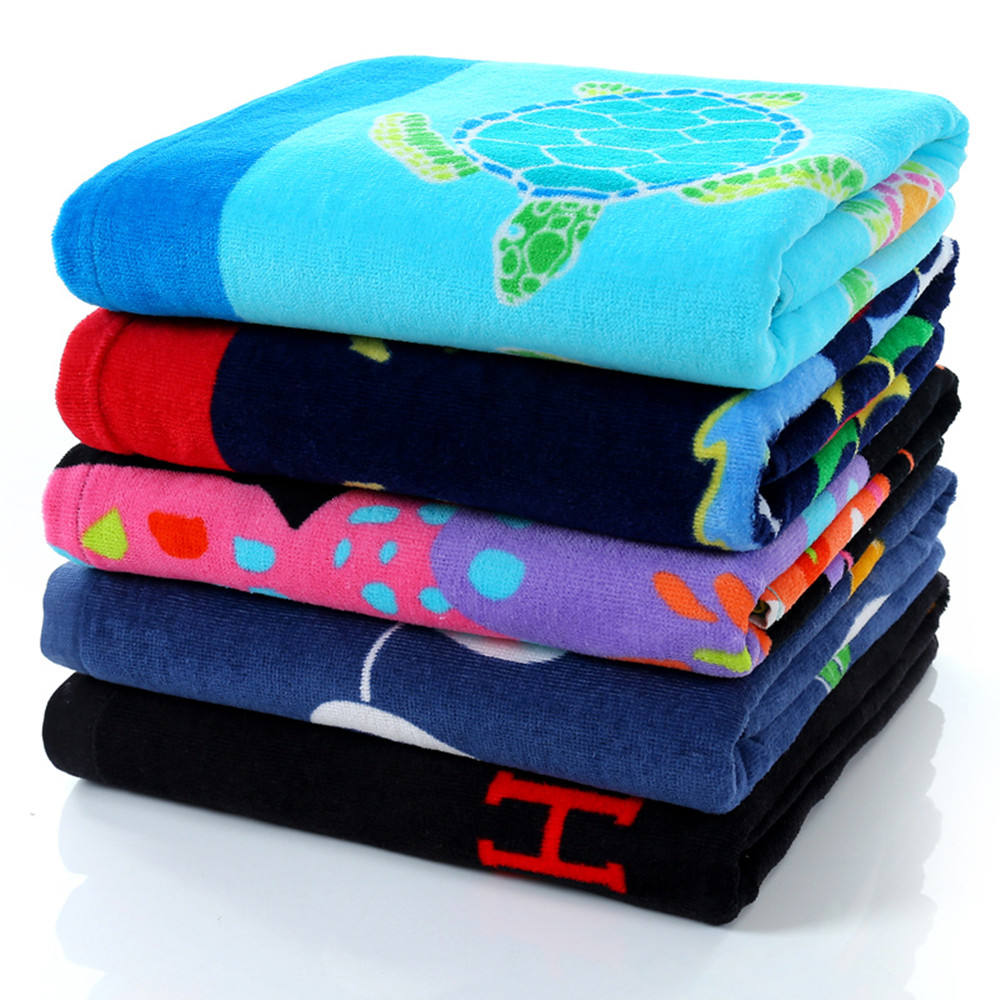 High Class Velour Reactive Printing Cotton Towel Terry Beach Towel