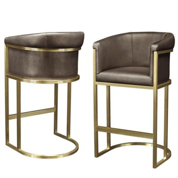 BC-230 Luxury Design Brown Leather Bar Chair Stainless Steel Frame Armchair