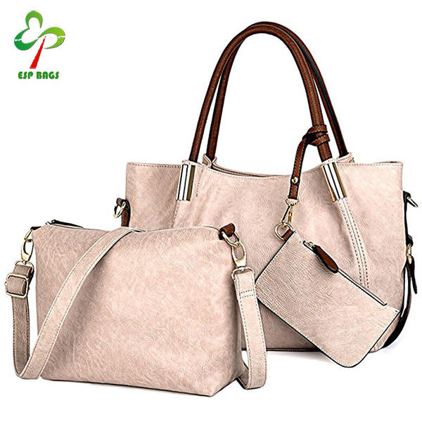 2017 Best selling fashion and beautiful handbags women bags set 3 pieces bag with purses
