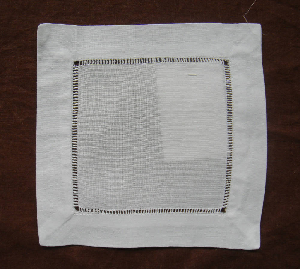 READY TO SHIP Hemstitch cocktail napkin Coaster linen cocktail napkin