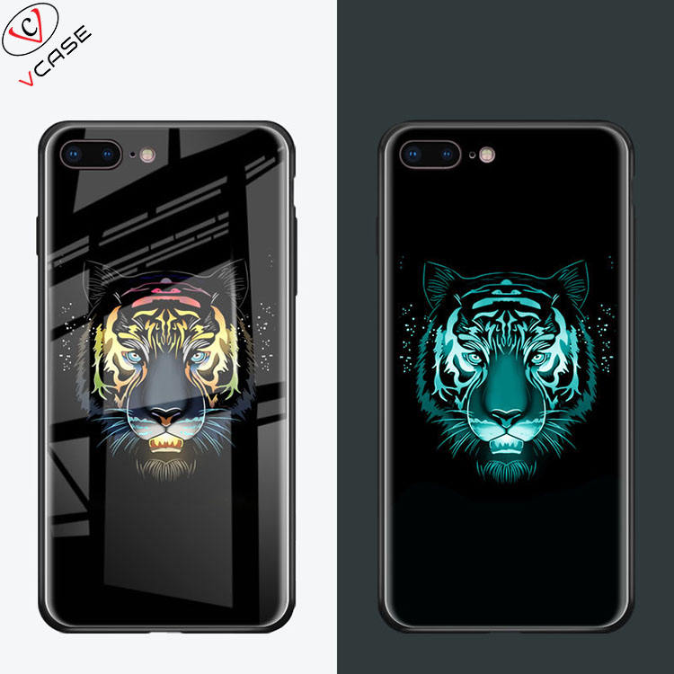 VCASE New Arrival Amazon Hot sale Luxury Tempered Glass Luminous Phone Case