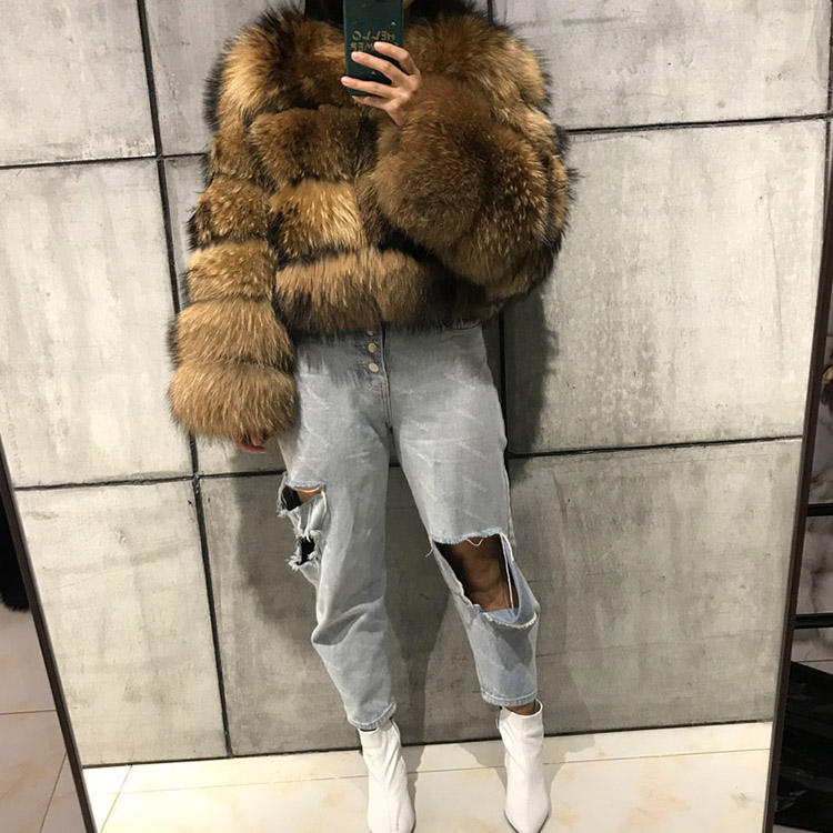 women's winter warm thick real raccoon fur coat ladies natural raccoon fur jacket outwear