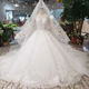 HTL198 ball gown like white wedding dresses with wedding veil illusion o-neck wedding gown with train 2019 new fashion design