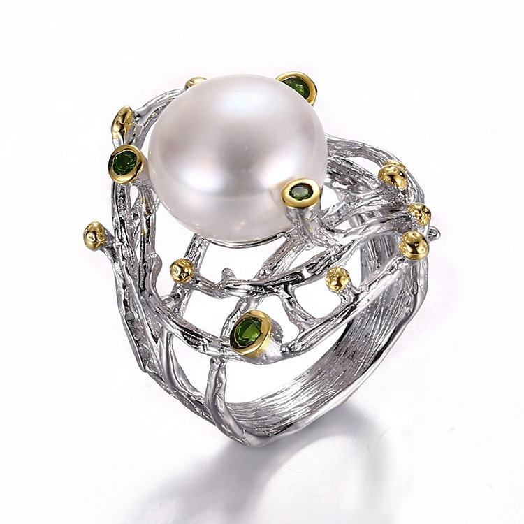 Handmade Indian Style Germany Button Pearl 925 Silver Ring Diopside Stone Jewelry