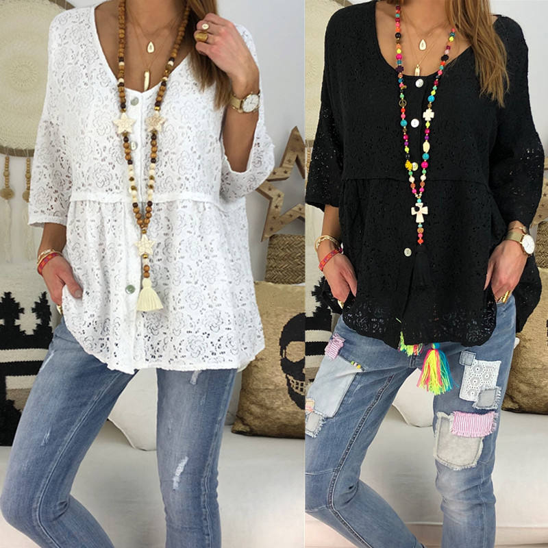 Women Boho Lace Blouse Ladies Loose Half Sleeve Crew Neck Beach Tops Plus Size Summer Female Blusas