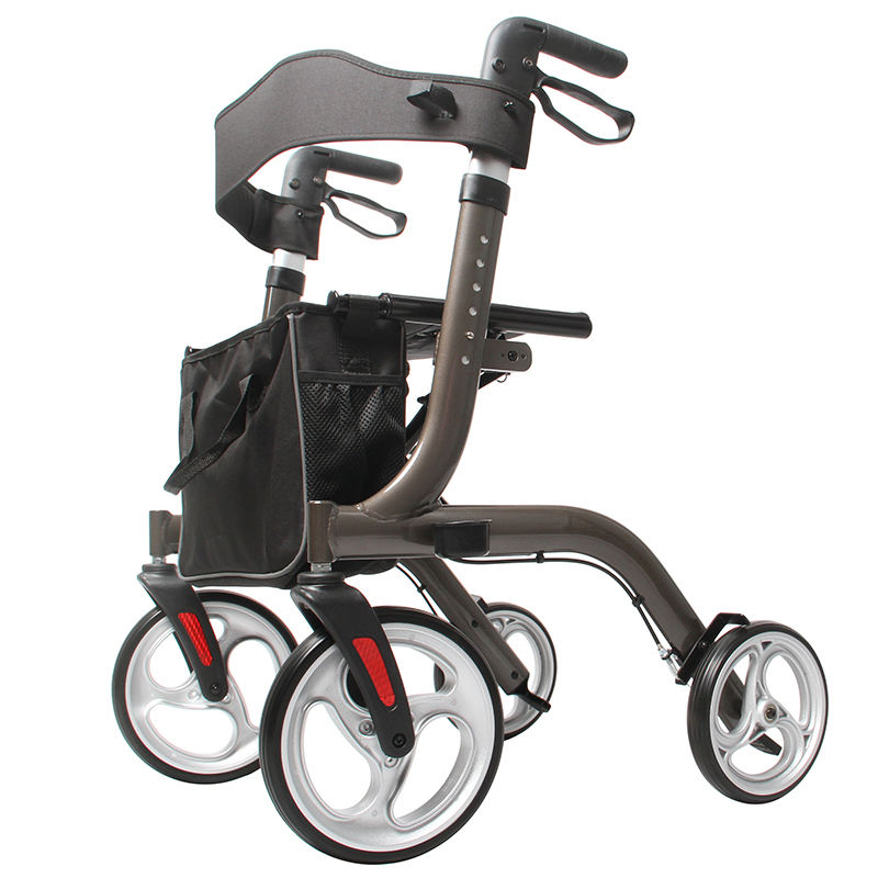 Aluminum 4 Wheel Rollator Walker Foldable With Seat
