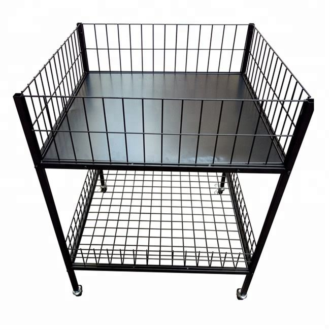 Metal square dump bin display shelf
