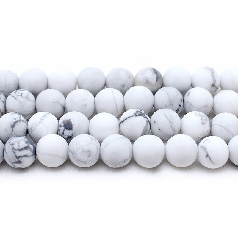 New bead matte frosted white howlite stone round stone beads for bracelets jewelry making (AB1566)