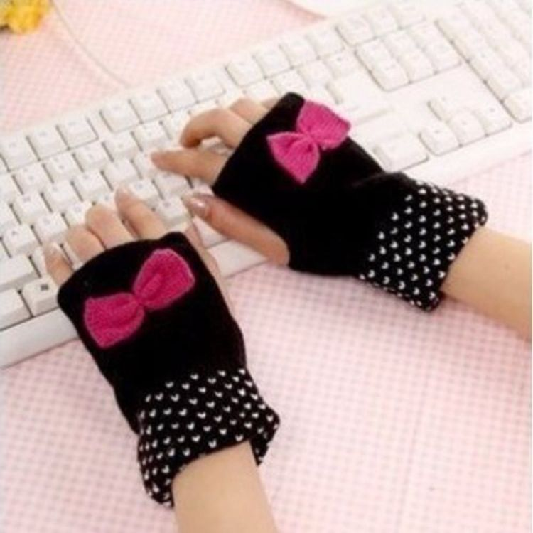 Fashion knitted Mittens Cute Bowknot Fingerless Wrist Gloves