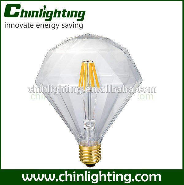 Especial de decoración 4w e27 230v diamante led lámpara de filamento de vidrio transparente con y de gas- llena bombilla