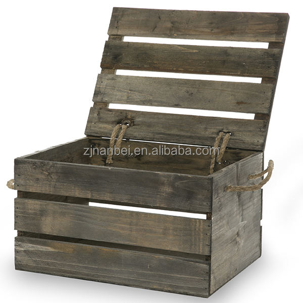 Custom antique grey wooden crate with lid