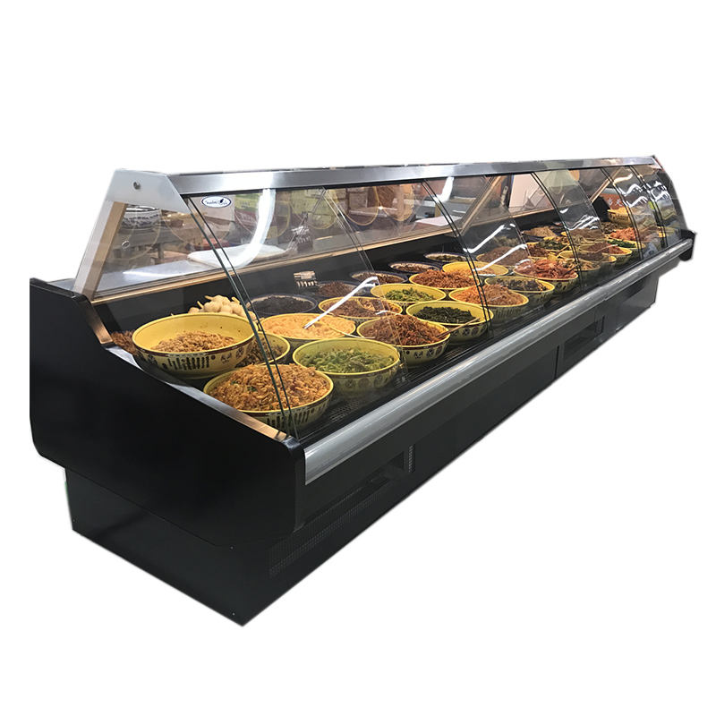 Luxury Single temperature style Display refrigerated deli chiller/refrigerator curved glass door serve counter
