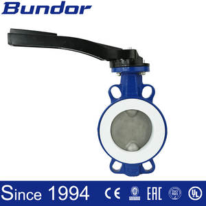 Aluminium handle wafer PTFE seat universal butterfly valve