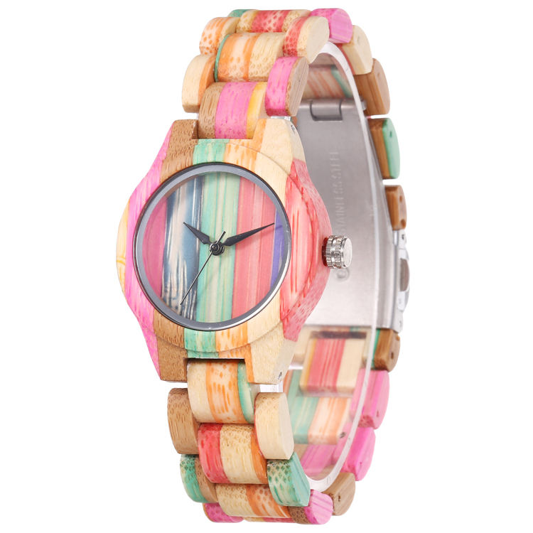 WD 203 Unique Colorful Wood Watch Womens Full Wooden Bracelet Ladies Dress Clock Environmental Protection Bamboo Watch
