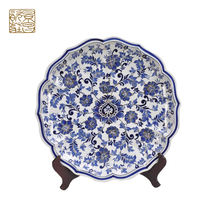 Exquisite wholesale blue and white porcelain custom decorative ceramic porcelain plate for home decoration