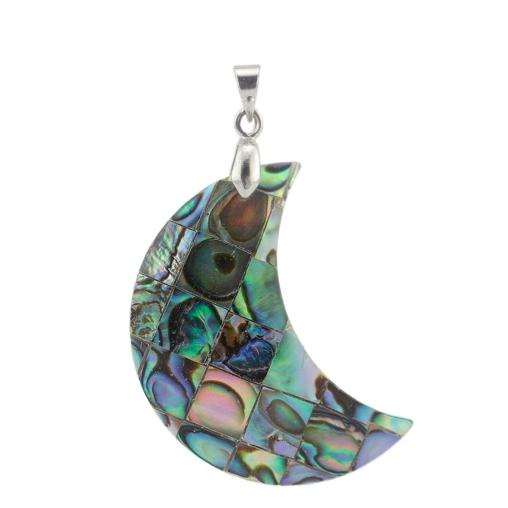FPG023 New Zealand Abalone Shell Moon Shape Pendant Charms