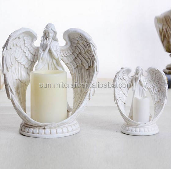 Resin praying angel electric LED candle