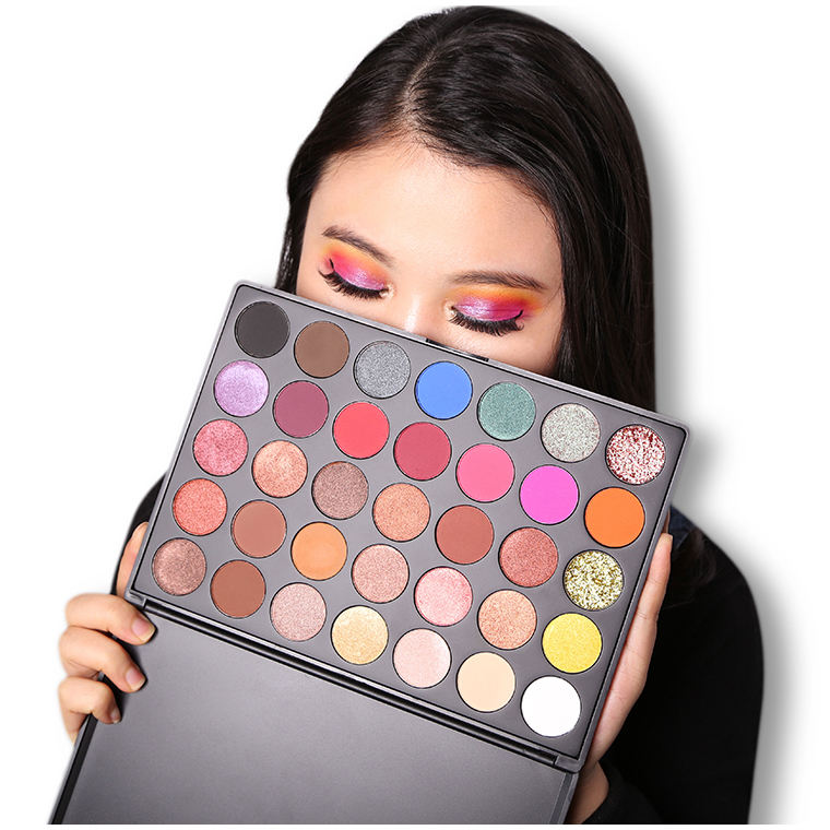 A28 New Make Up eye shadow cosmetics custom glitter 35 colors private label eyeshadow palette